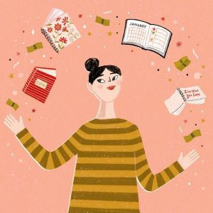 Woman Juggling Life Planners